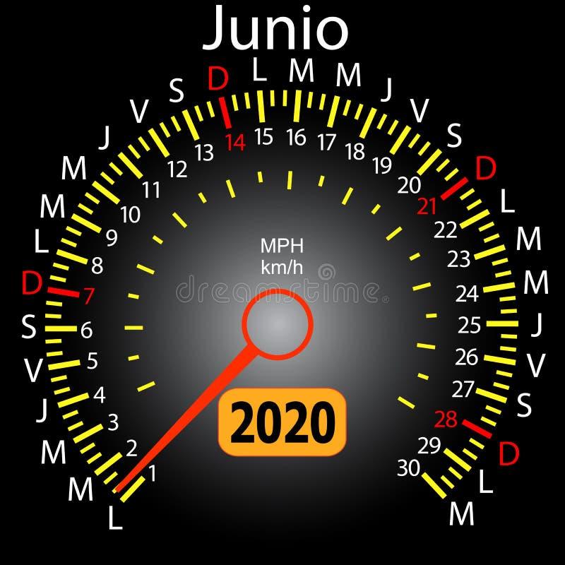 αυτοκίνητο ημερολογιακών ταχυμέτρων έτους του 2020 τον ισπανικό Ιούνιο απεικόνιση αποθεμάτων