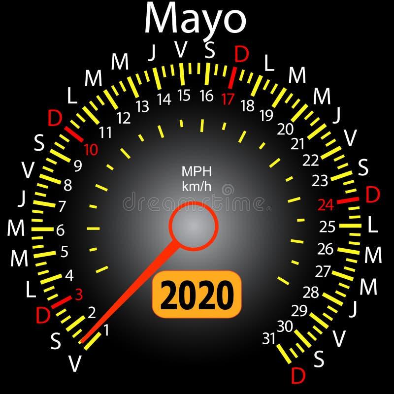 αυτοκίνητο ημερολογιακών ταχυμέτρων έτους του 2020 τον ισπανικό Μάιο ελεύθερη απεικόνιση δικαιώματος