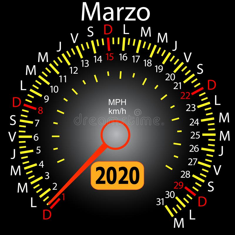 αυτοκίνητο ημερολογιακών ταχυμέτρων έτους του 2020 τον ισπανικό Μάρτιο ελεύθερη απεικόνιση δικαιώματος