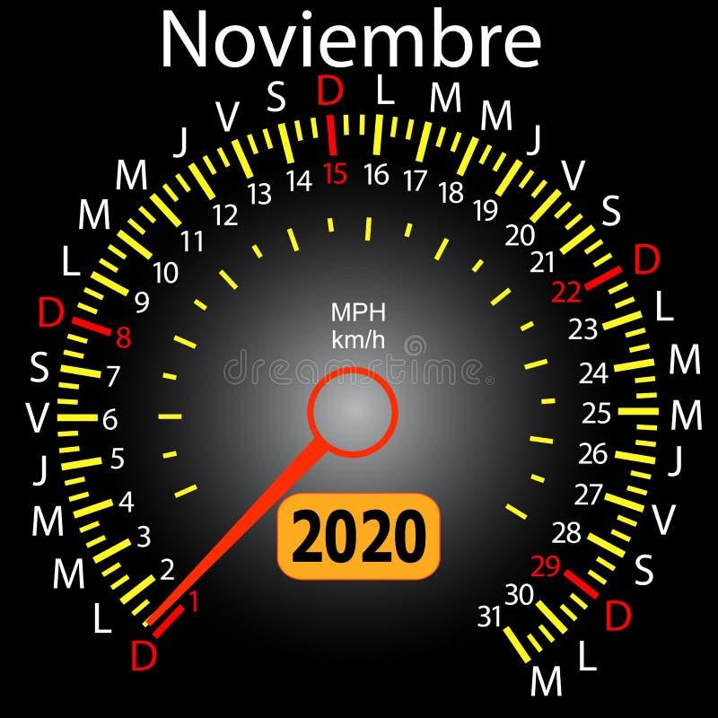 αυτοκίνητο ημερολογιακών ταχυμέτρων έτους του 2020 τον ισπανικό Νοέμβριο απεικόνιση αποθεμάτων