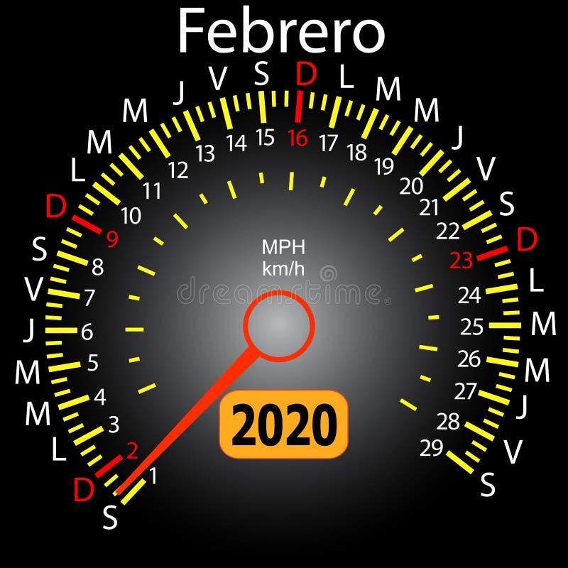 αυτοκίνητο ημερολογιακών ταχυμέτρων έτους του 2020 τον ισπανικό Φεβρουάριο διανυσματική απεικόνιση