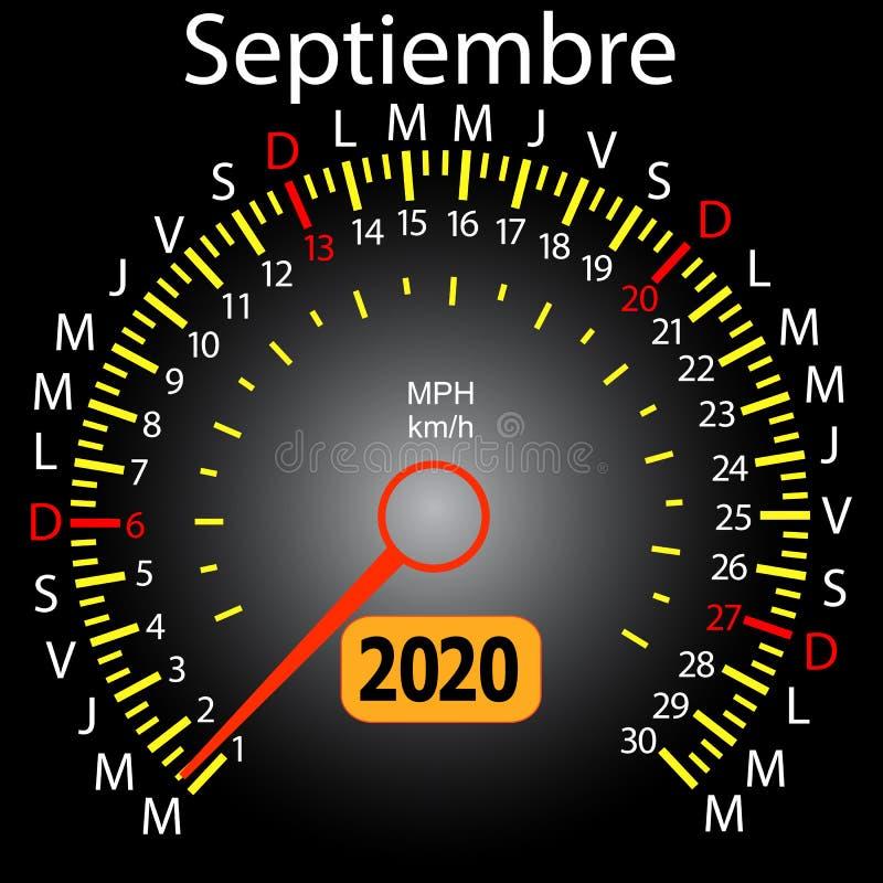 αυτοκίνητο ημερολογιακών ταχυμέτρων έτους του 2020 τον ισπανικό Σεπτέμβριο ελεύθερη απεικόνιση δικαιώματος