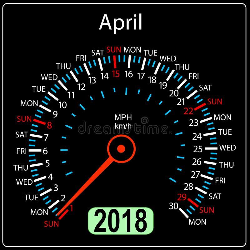 Αυτοκίνητο ημερολογιακών ταχυμέτρων έτους 2018 στην έννοια apse ελεύθερη απεικόνιση δικαιώματος