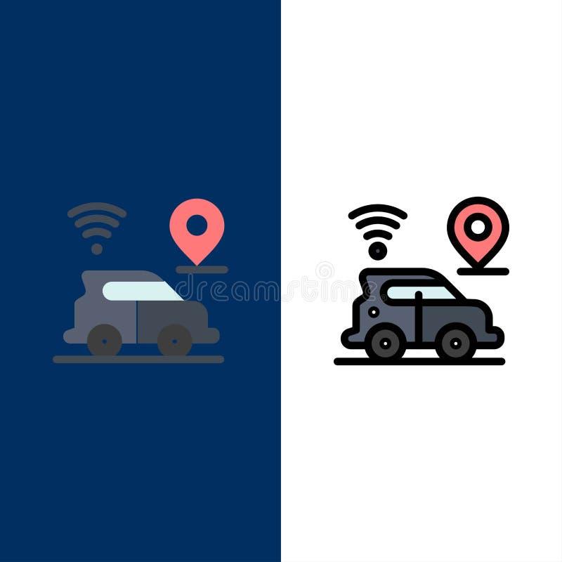 Αυτοκίνητο, θέση, χάρτης, εικονίδια τεχνολογίας Επίπεδος και γραμμή γέμισε το καθορισμένο διανυσματικό μπλε υπόβαθρο εικονιδίων απεικόνιση αποθεμάτων