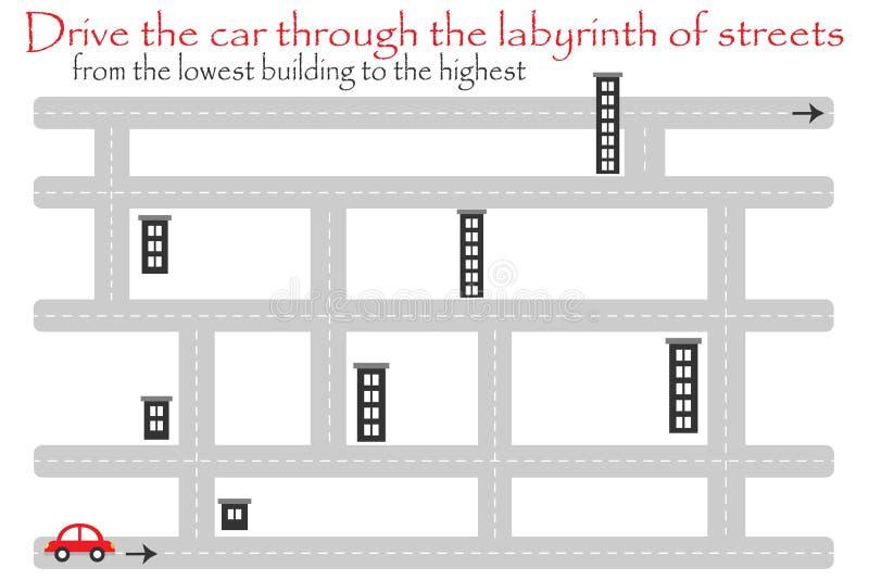 Αυτοκίνητο κίνησης μέσω του λαβύρινθου των οδών, από το χαμηλότερο κτήριο, παιχνίδι εκπαίδευσης διασκέδασης για τα παιδιά, προσχο ελεύθερη απεικόνιση δικαιώματος