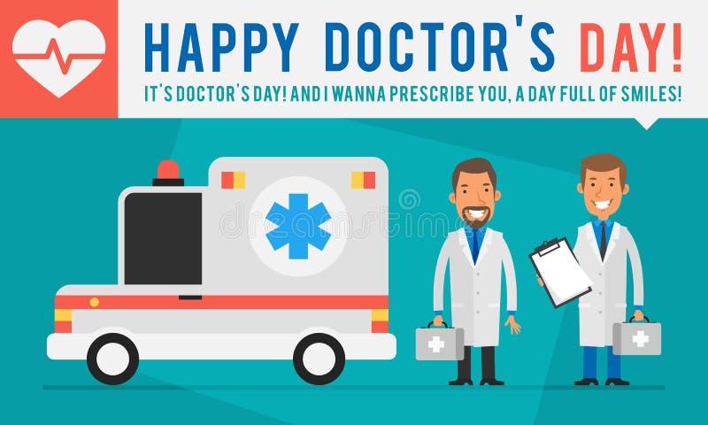 Αυτοκίνητο και εκμετάλλευση Suitca ασθενοφόρων ημέρας γιατρών έννοιας δύο γιατρών διανυσματική απεικόνιση