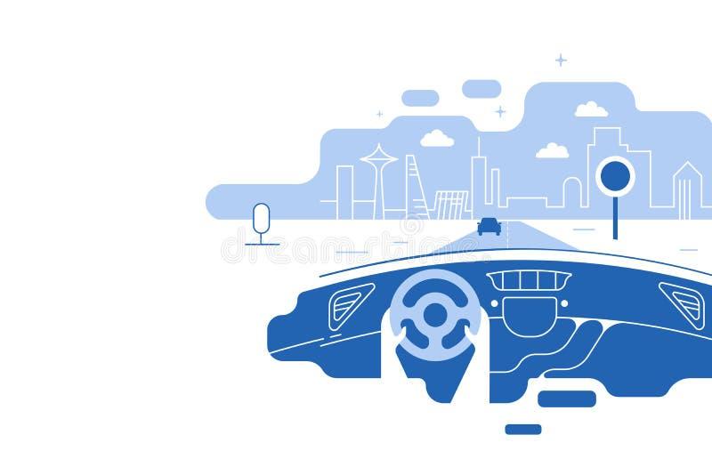 Αυτοκίνητο και οδηγός ταμπλό Χέρια που οδηγούν ένα αυτοκίνητο στην εθνική οδό Κίνηση που προειδοποιεί ακίνδυνα τον πίνακα διαφημί απεικόνιση αποθεμάτων