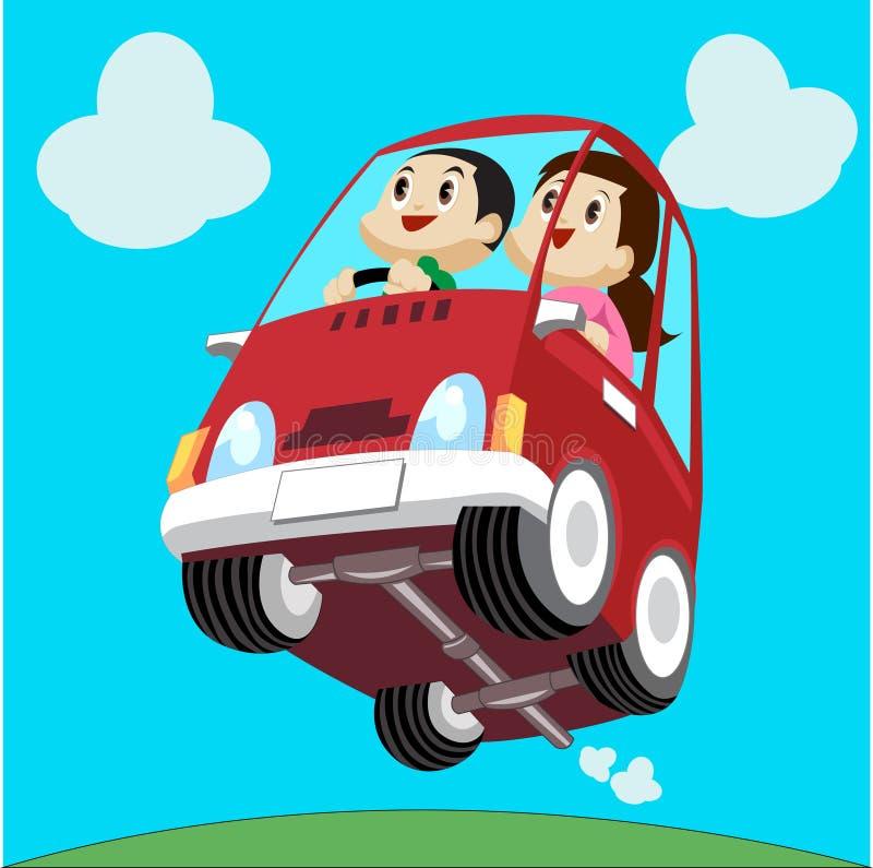 Αυτοκίνητο και οδηγός κινούμενων σχεδίων απεικόνιση αποθεμάτων