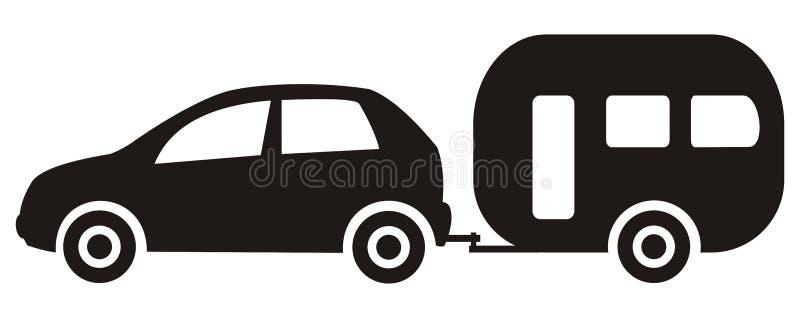 Αυτοκίνητο και ρυμουλκό διανυσματική απεικόνιση