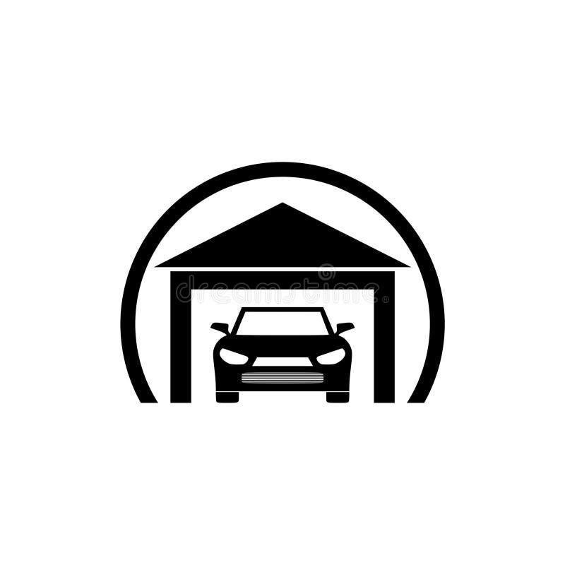 Αυτοκίνητο μέσα σε ένα εικονίδιο γκαράζ απεικόνιση αποθεμάτων