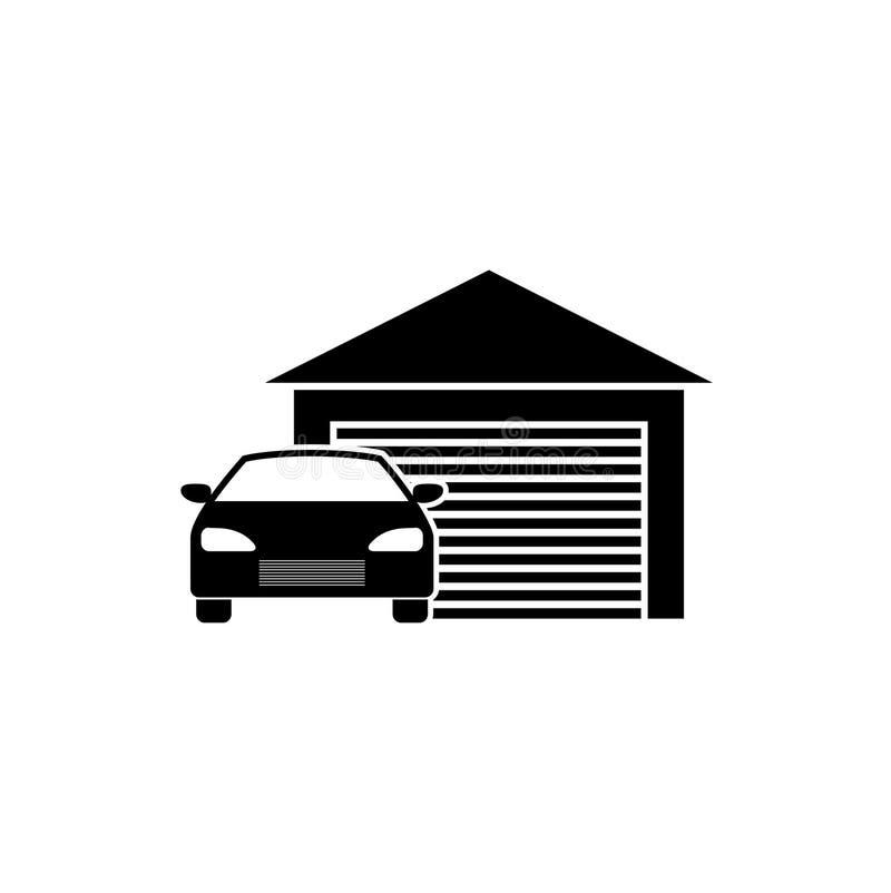 Αυτοκίνητο μέσα σε ένα εικονίδιο γκαράζ διανυσματική απεικόνιση