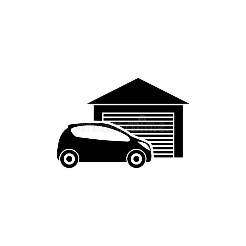 Αυτοκίνητο μέσα σε ένα εικονίδιο γκαράζ ελεύθερη απεικόνιση δικαιώματος