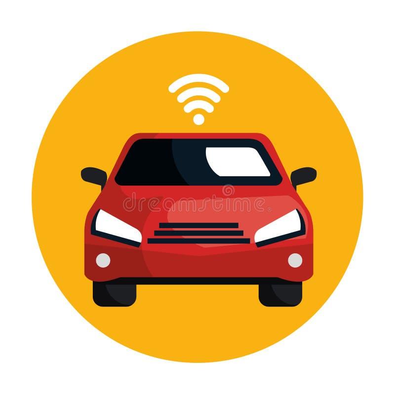 Αυτοκίνητο με το σήμα wifi διανυσματική απεικόνιση