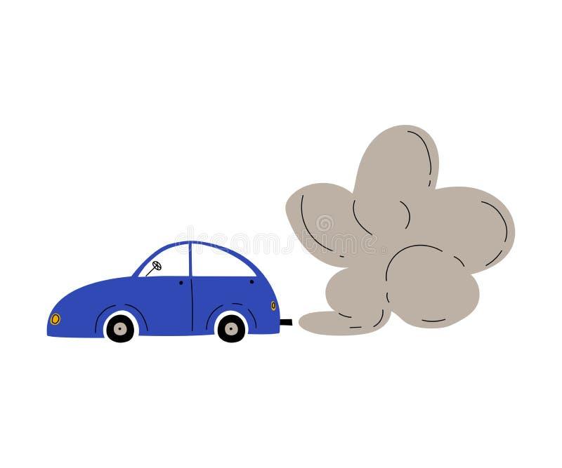 Αυτοκίνητο με το σύννεφο καπνού εξάτμισης, οικολογικό πρόβλημα, διανυσματική απεικόνιση ατμοσφαιρικής ρύπανσης διανυσματική απεικόνιση