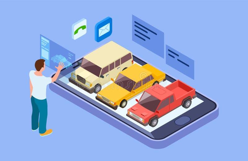 Αυτοκίνητο μισθώματος σε απευθείας σύνδεση Isometric αγοράστε το αυτοκίνητο με το σε απευθείας σύνδεση τηλέφωνο app Το άτομο επιλ διανυσματική απεικόνιση