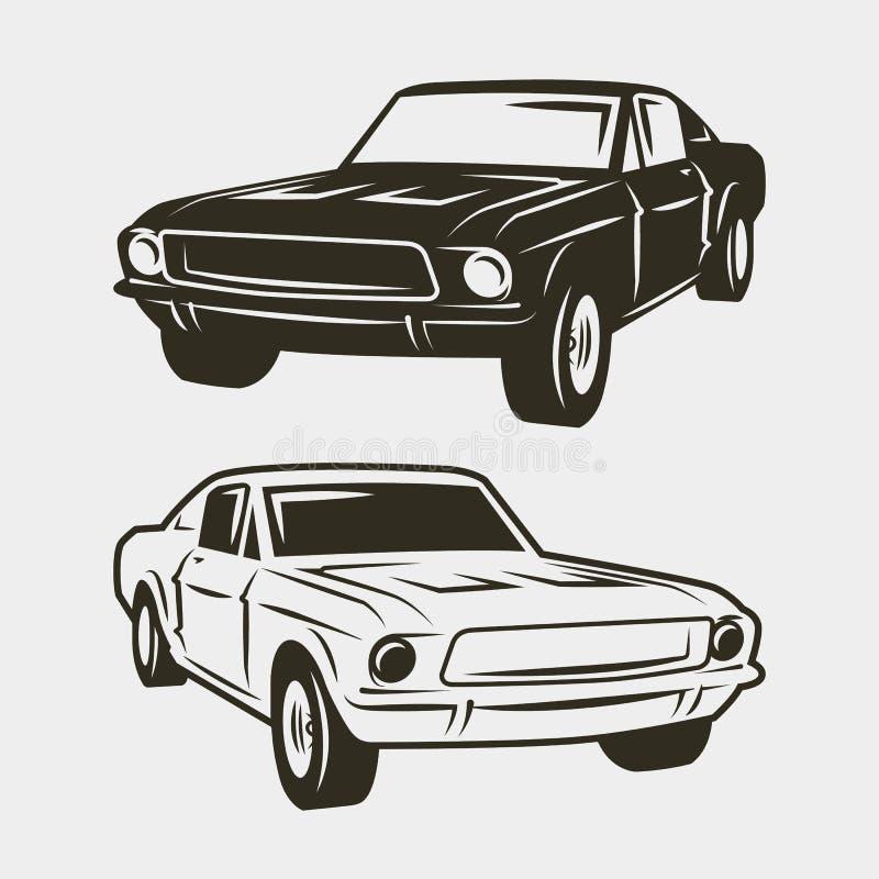 Αυτοκίνητο μυών που απομονώνεται στο άσπρο υπόβαθρο επίσης corel σύρετε το διάνυσμα απεικόνισης απεικόνιση αποθεμάτων