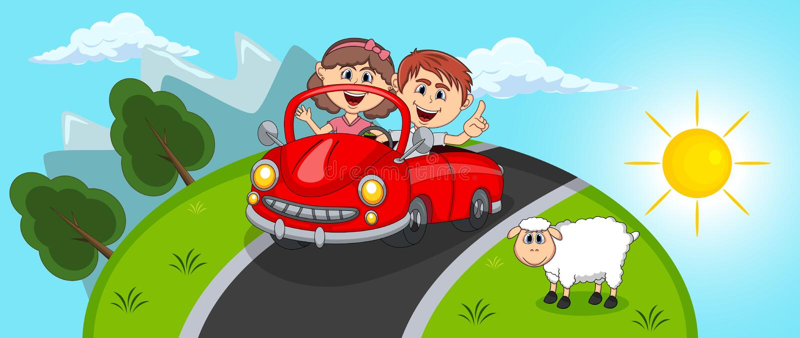 Αυτοκίνητο, νέοι επιβάτες ζευγών με το Hill και τα κινούμενα σχέδια υποβάθρου προβάτων διανυσματική απεικόνιση
