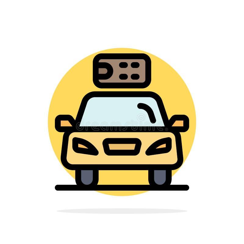 Αυτοκίνητο, οικολογία, ηλεκτρική, ενέργεια, δύναμης αφηρημένο κύκλων εικονίδιο χρώματος υποβάθρου επίπεδο διανυσματική απεικόνιση