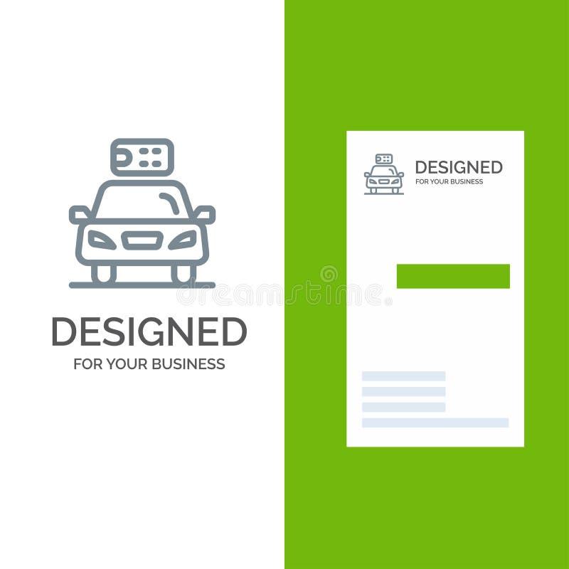 Αυτοκίνητο, οικολογία, ηλεκτρικός, ενέργεια, γκρίζο σχέδιο λογότυπων δύναμης και πρότυπο επαγγελματικών καρτών διανυσματική απεικόνιση