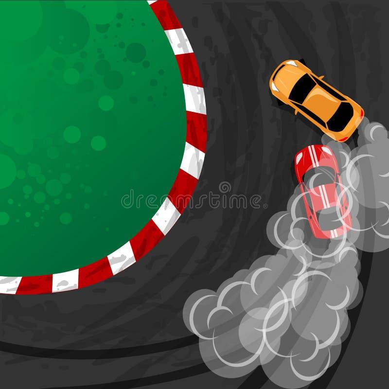 Αυτοκίνητο ουδετεροποίησης, ιαπωνικό σπορ αυτοκίνητο κλίσης, οδός που συναγωνίζεται, στροβιλοσυμπιεστής, συντονισμός Διανυσματική απεικόνιση αποθεμάτων