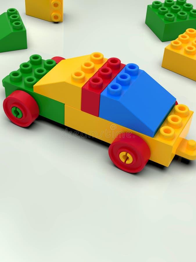 Αυτοκίνητο παιχνιδιών που χτίζεται από τους ζωηρόχρωμους φραγμούς, ύφος lego στοκ φωτογραφία με δικαίωμα ελεύθερης χρήσης