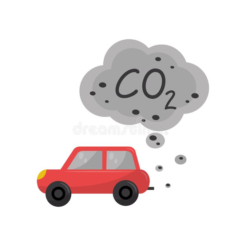 Αυτοκίνητο που εκπέμπει το διοξείδιο του άνθρακα, CO2, περιβαλλοντική διανυσματική απεικόνιση προβλήματος ρύπανσης σε ένα άσπρο υ ελεύθερη απεικόνιση δικαιώματος