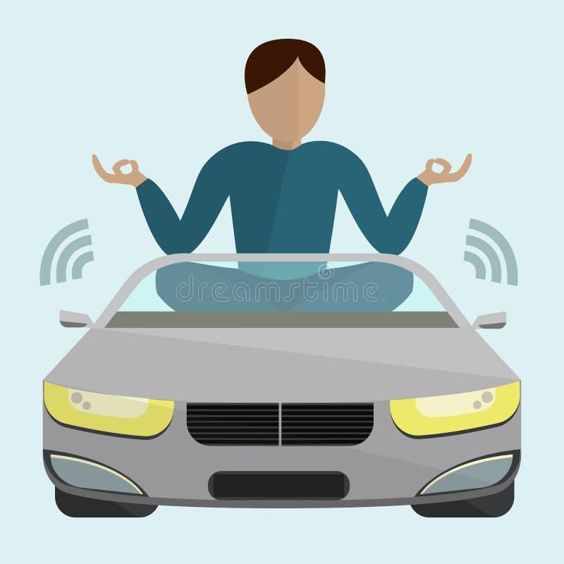 Αυτοκίνητο που κινείται χωρίς έναν οδηγό ελεύθερη απεικόνιση δικαιώματος