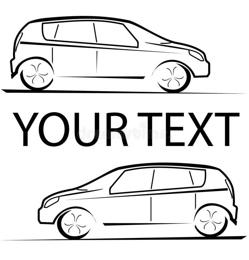 Αυτοκίνητο που συναγωνίζεται το αυτόματο λογότυπο διανυσματική απεικόνιση