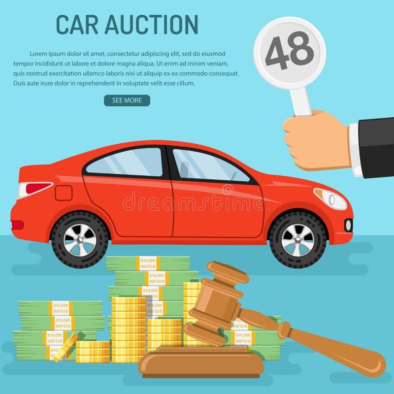 Αυτοκίνητο πώλησης στη δημοπρασία διανυσματική απεικόνιση