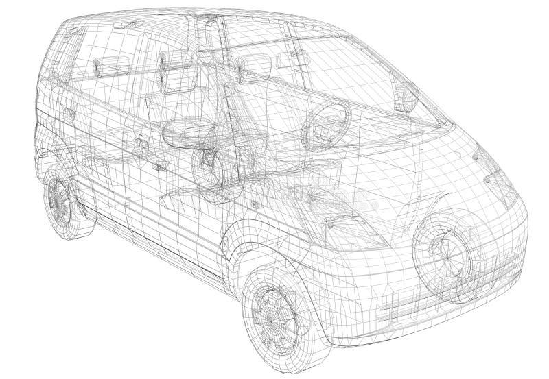 Αυτοκίνητο πλαισίων καλωδίων απεικόνιση αποθεμάτων