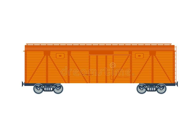 Αυτοκίνητο σιδηροδρόμου φορτίου Στην άσπρη ανασκόπηση Αυτοκίνητο σιδηροδρόμου φορτίου απεικόνιση Ξύλινο απομονωμένο boxcar διάνυσ απεικόνιση αποθεμάτων