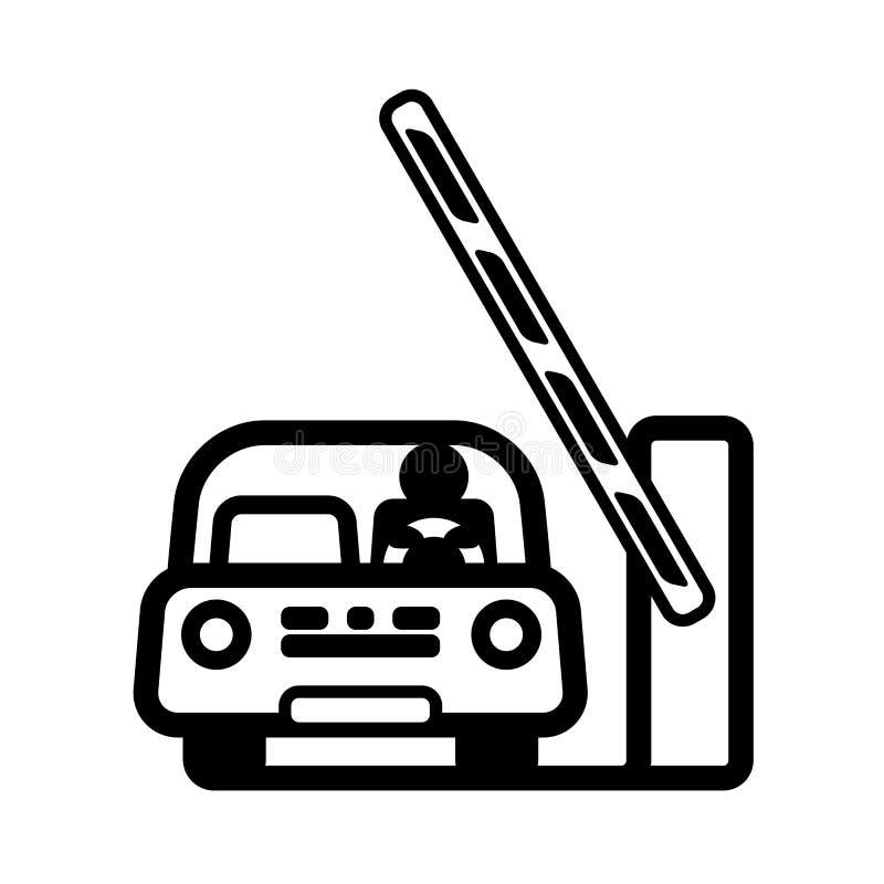 Αυτοκίνητο στην ανοικτή πύλη εμποδίων διανυσματική απεικόνιση