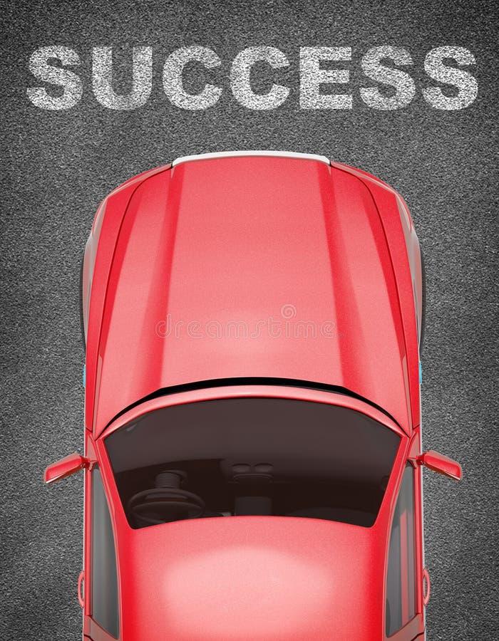 Αυτοκίνητο στο γκρίζο υπόβαθρο σύστασης με τη λέξη απεικόνιση αποθεμάτων