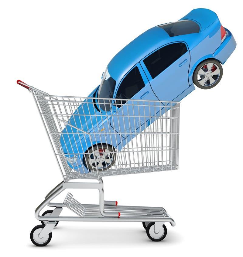 Αυτοκίνητο στο κάρρο αγορών ελεύθερη απεικόνιση δικαιώματος