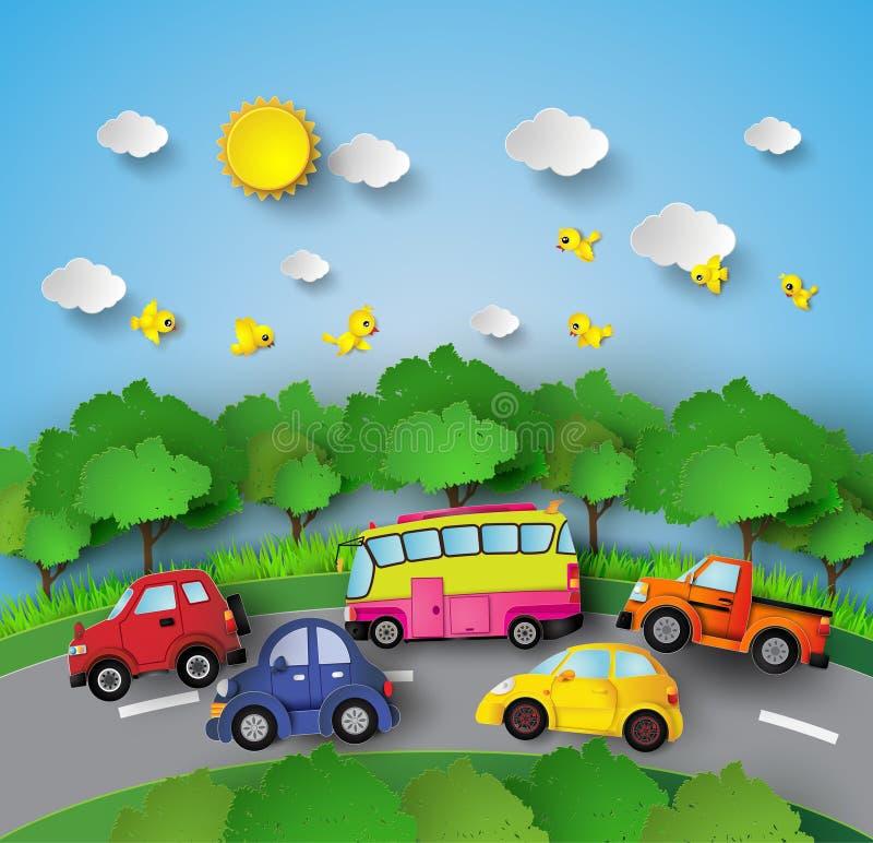 Αυτοκίνητο στο δρόμο απεικόνιση αποθεμάτων