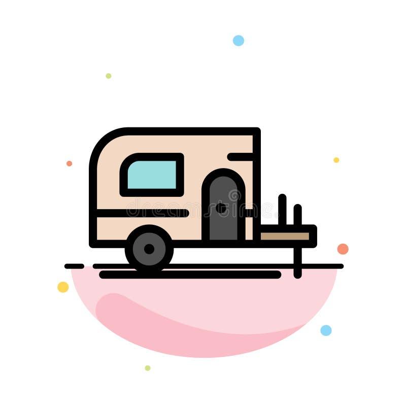 Αυτοκίνητο, στρατόπεδο, αφηρημένο επίπεδο πρότυπο εικονιδίων χρώματος ανοίξεων ελεύθερη απεικόνιση δικαιώματος