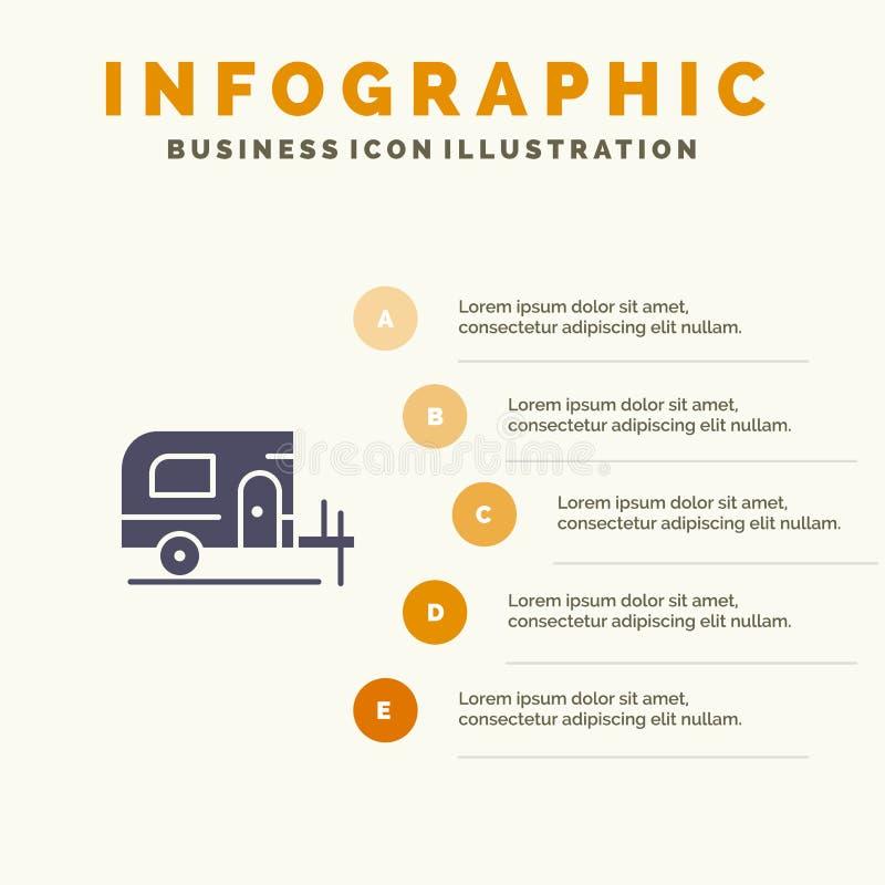 Αυτοκίνητο, στρατόπεδο, στερεό εικονίδιο Infographics 5 ανοίξεων υπόβαθρο παρουσίασης βημάτων διανυσματική απεικόνιση