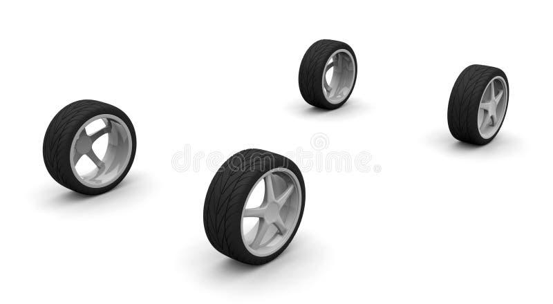 αυτοκίνητο τέσσερα νέες ρόδες απεικόνιση αποθεμάτων