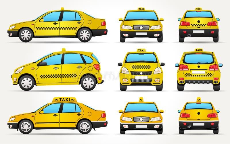Αυτοκίνητο ταξί - πλευρά - μέτωπο - πίσω άποψη διανυσματική απεικόνιση