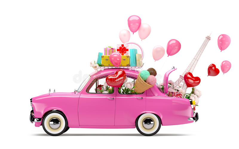 Αυτοκίνητο της αγάπης απεικόνιση αποθεμάτων