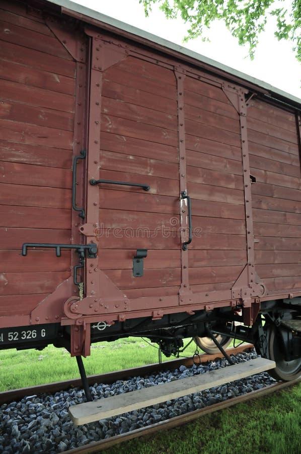 Αυτοκίνητο τραίνων φορτίου στο στρατόπεδο διέλευσης Westerbork στοκ εικόνα