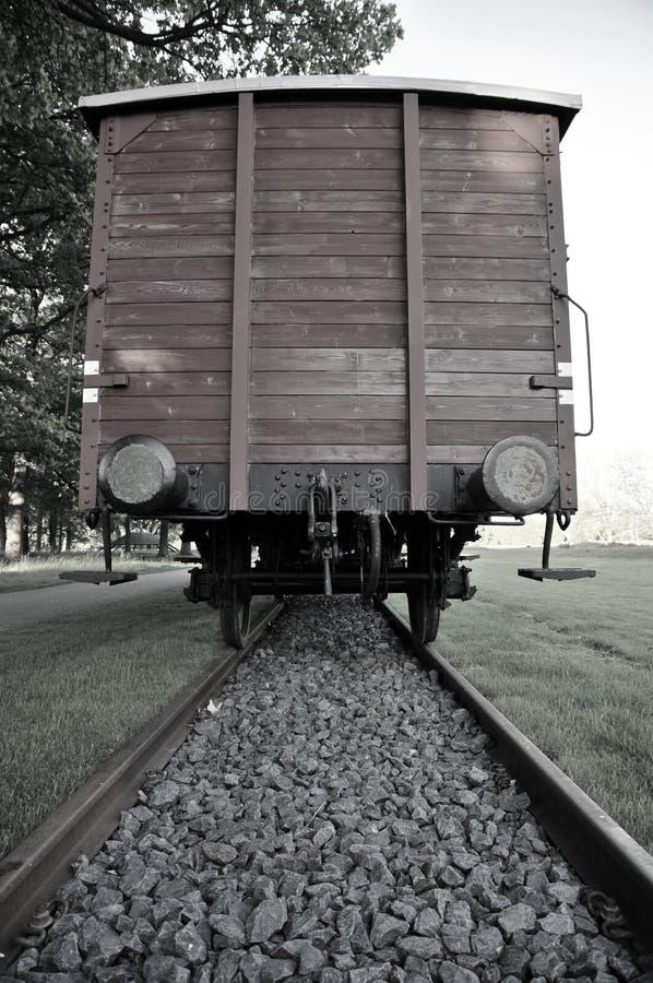 Αυτοκίνητο τραίνων φορτίου στο στρατόπεδο διέλευσης Westerbork στοκ εικόνες