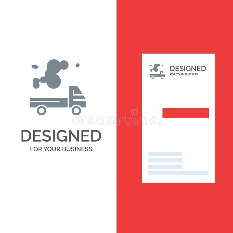Αυτοκίνητο, φορτηγό, εκπομπή, αέριο, γκρίζο σχέδιο λογότυπων ρύπανσης και πρότυπο επαγγελματικών καρτών διανυσματική απεικόνιση