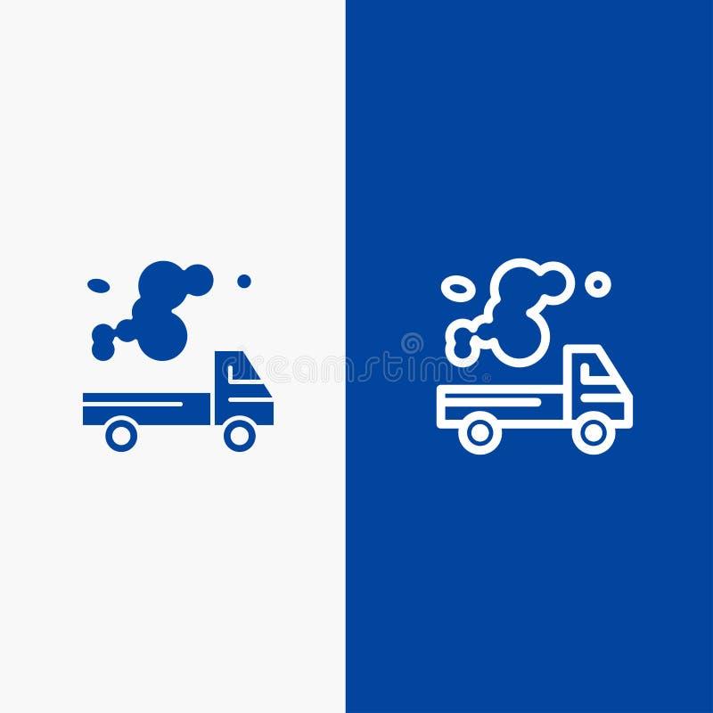 Αυτοκίνητο, φορτηγό, εκπομπή, αέριο, γραμμή ρύπανσης και στερεά γραμμή εμβλημάτων εικονιδίων Glyph μπλε και στερεό μπλε έμβλημα ε ελεύθερη απεικόνιση δικαιώματος