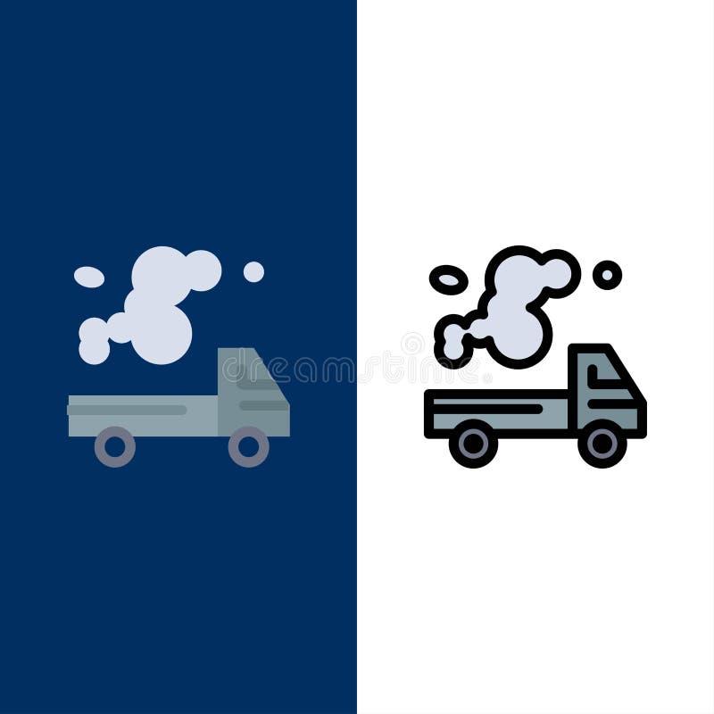 Αυτοκίνητο, φορτηγό, εκπομπή, αέριο, εικονίδια ρύπανσης Επίπεδος και γραμμή γέμισε το καθορισμένο διανυσματικό μπλε υπόβαθρο εικο απεικόνιση αποθεμάτων