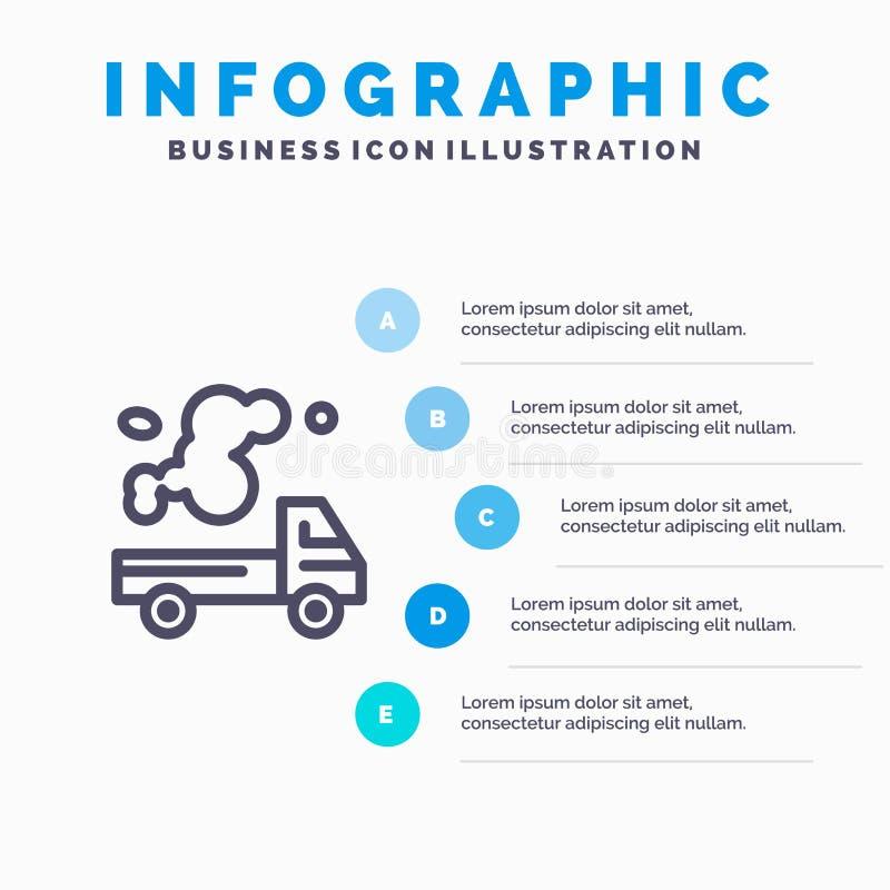 Αυτοκίνητο, φορτηγό, εκπομπή, αέριο, εικονίδιο γραμμών ρύπανσης με το υπόβαθρο infographics παρουσίασης 5 βημάτων απεικόνιση αποθεμάτων