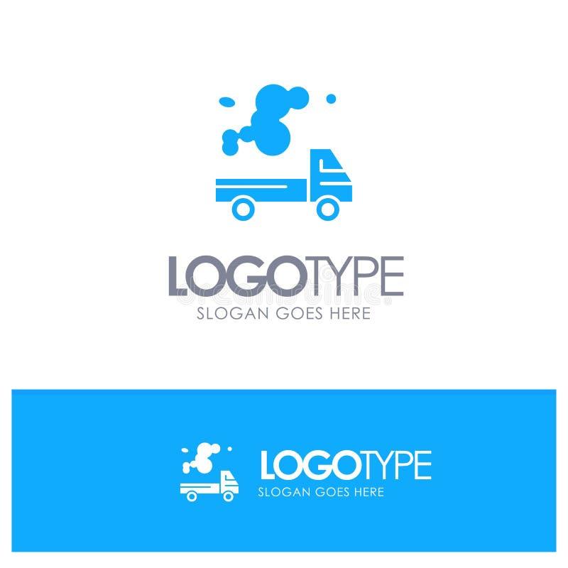 Αυτοκίνητο, φορτηγό, εκπομπή, αέριο, μπλε στερεό λογότυπο ρύπανσης με τη θέση για το tagline διανυσματική απεικόνιση