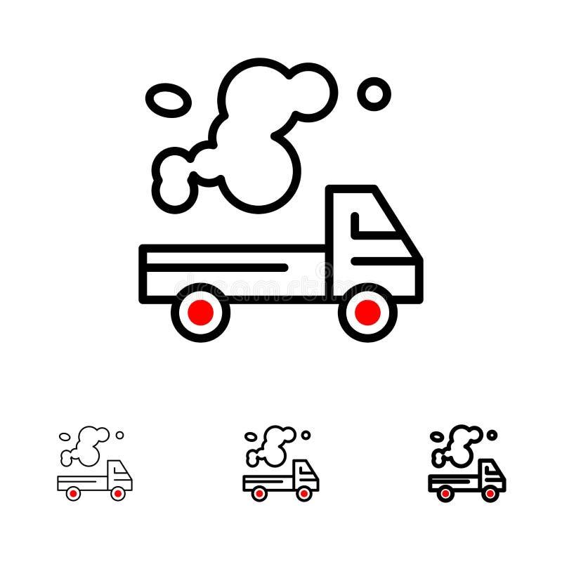 Αυτοκίνητο, φορτηγό, εκπομπή, αέριο, τολμηρό και λεπτό μαύρο σύνολο εικονιδίων γραμμών ρύπανσης απεικόνιση αποθεμάτων