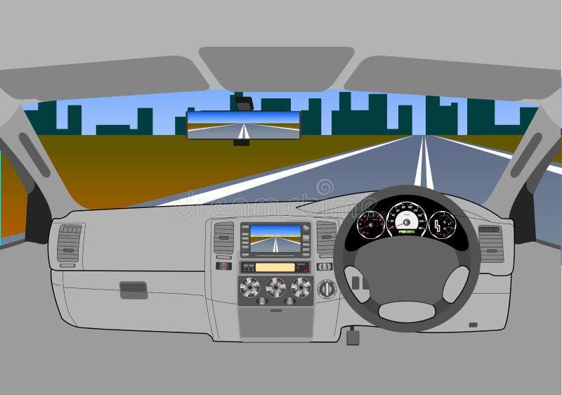αυτοκίνητο χωρίς έναν οδηγό στο δρόμο. ελεύθερη απεικόνιση δικαιώματος