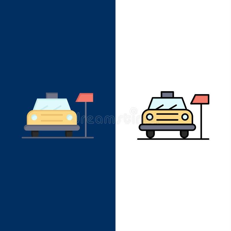 Αυτοκίνητο, χώρος στάθμευσης, ξενοδοχείο, εικονίδια υπηρεσιών Επίπεδος και γραμμή γέμισε το καθορισμένο διανυσματικό μπλε υπόβαθρ απεικόνιση αποθεμάτων
